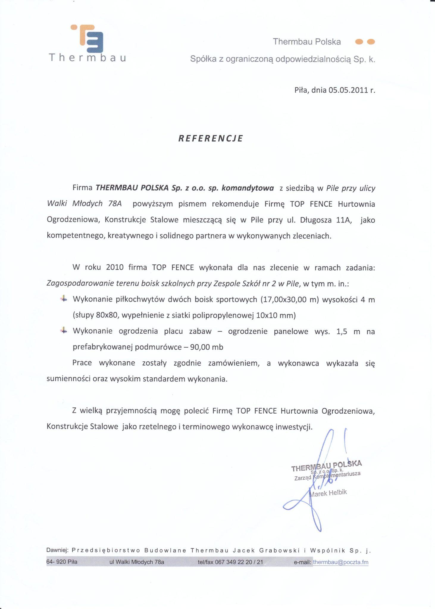 Referencje - Hurtownia Ogrodzeniowa